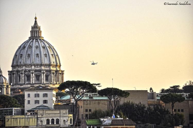 Pope Benedict XVI flying over  the Vatican City
